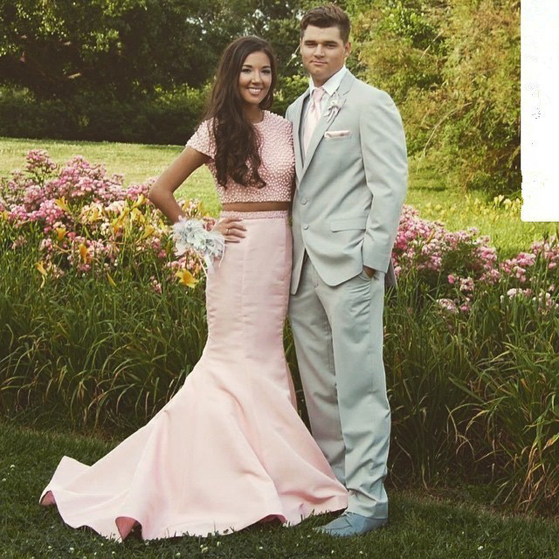 Elegant Pink Two Pieces Long Prom Short Sleeves Mermaid Party Evening Sexy Women's Gown Custom 2018 Mother Of The Bride Dresses