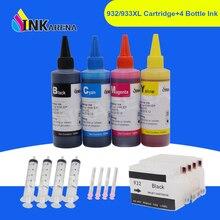 INKARENA 932 933 XL Printer Dye Ink Cartridge + 400ml Bottle Ink For HP 932XL Officejet 6100 6600 6700 7110 7610 7612 Printers