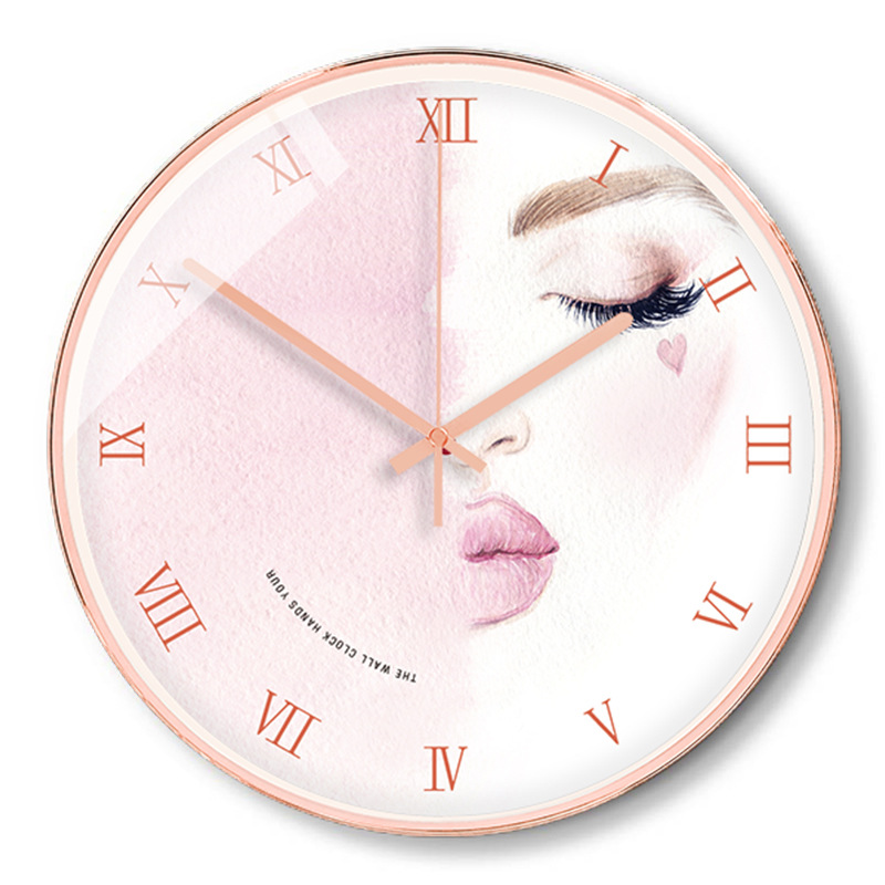 Pink Wall Clock Modern Design Vintage Rustic Shabby Clock Quiet Art Watch Home Decoration 2019 Hot Selling Home Decor 50A059