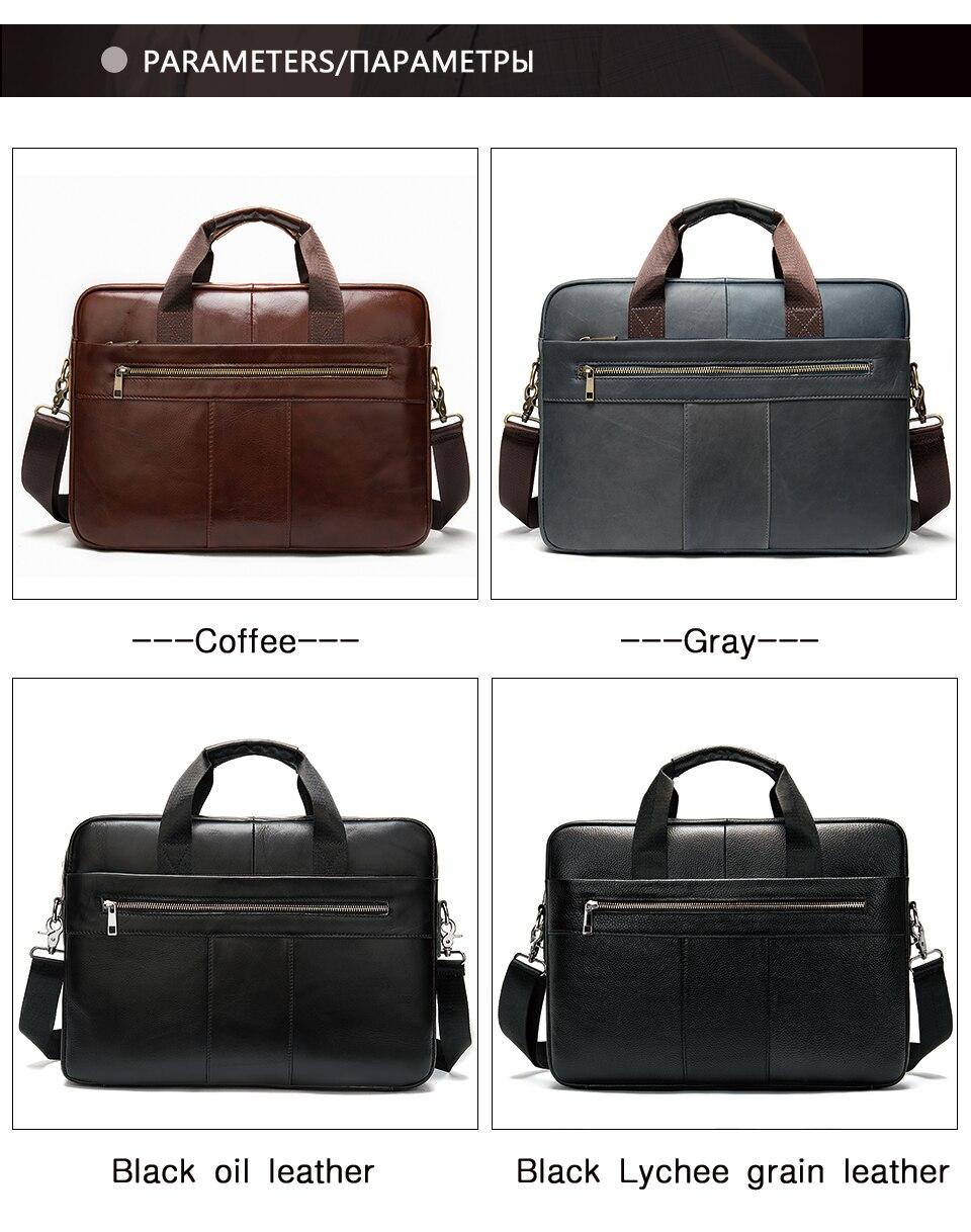 WESTAL hommes porte-documents sac hommes en cuir véritable pochette d'ordinateur fourre-tout d'affaires pour document bureau ordinateur portable sac à bandoulière 8523 - 2