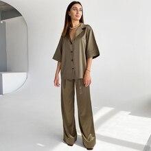 HiLoc Solid Drop Sleeves Pajama Turn-Down Collar 2 Piece Set Women Pajamas With Pants 2021 Spring Deep V-Neck Sleepwear Satin