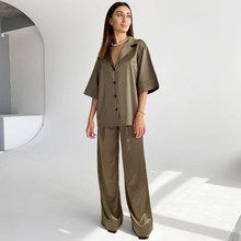 HiLoc Solid Drop Sleeves Pajama Turn-Down Collar 2 Piece Set Women Pajamas With Pants 2021 Spring Deep V-Neck Sleepwear Satin