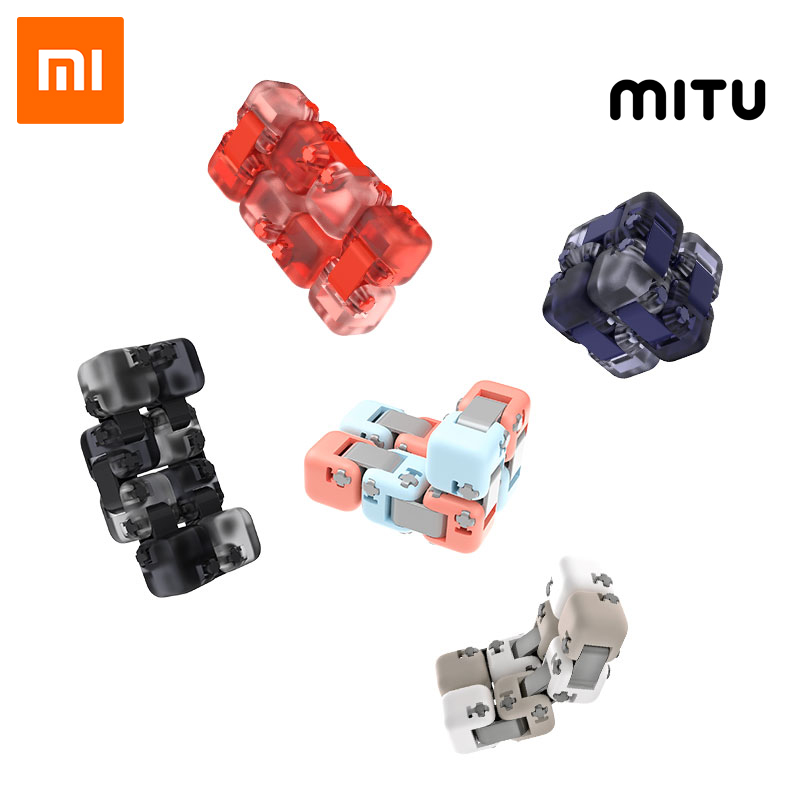 Xiaomi Mitu Spinner Colorful Building Blocks Finger Fidget Decompression Toy Puzzle Assembling Cube Finger Spinner Toy 2019 New
