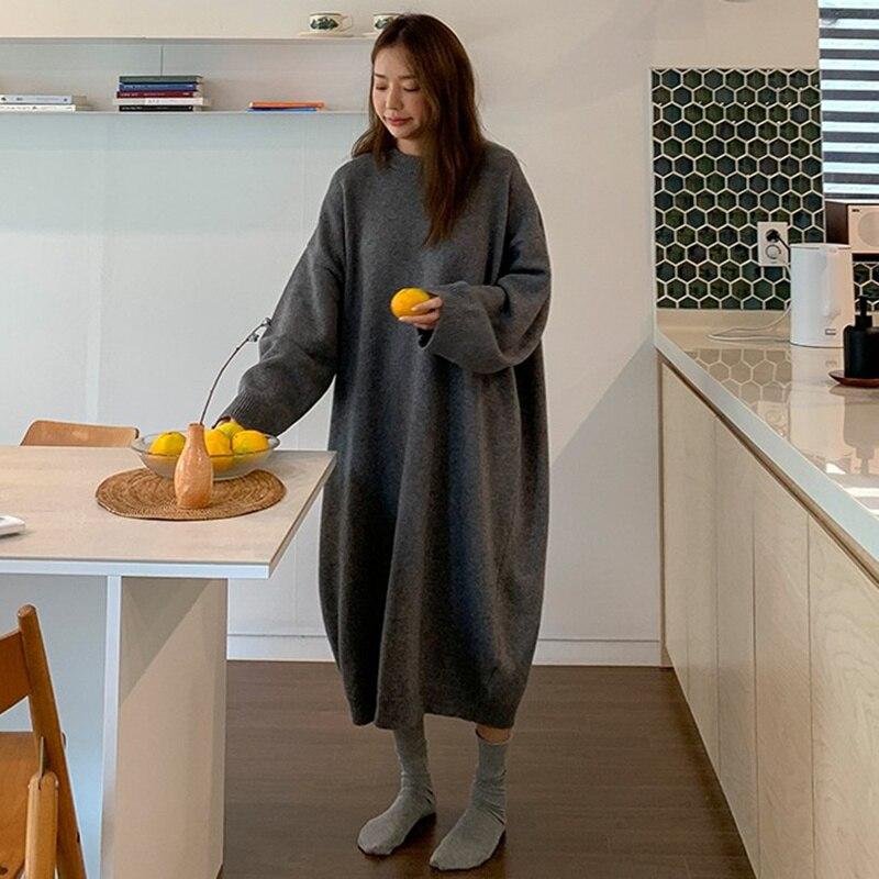 Yeni sonbahar kazak kadın elbise kış uzun kollu kazak örme elbiseler uzun gevşek Maxi boy elbiseler örme Robe Vestido