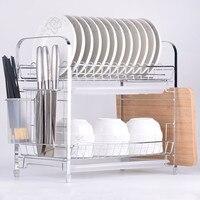 2 Tiers Dish Drying Rack Kitchen Washing Holder Basket Plated Iron Kitchen Knife Sink Dish Drainer Drying Rack Storage Organizer