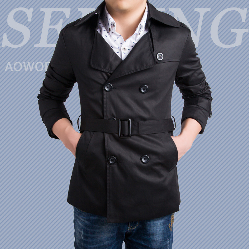 Direct Supply Aowofs Official Genuine Product England Fashion Men Double Breasted Fold-down Collar Mid-length Trench Coat Pure C