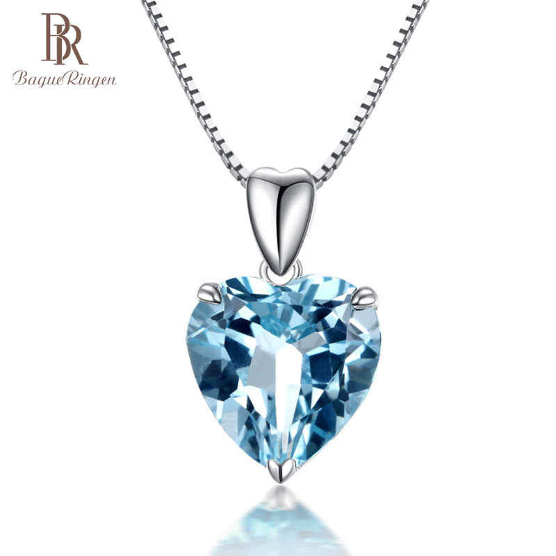 Bague Ringen silver 925 jewelry necklace with Heart of the Sea shape sapphire Pendant luxury jewelry Engagement Wedding Gift
