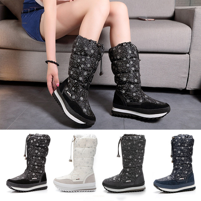 Women Boots Keep Warm Snow Boots With Platform Winter Shoes Woman 2019 Waterproof Mid-calf Boots Fashion Heels Botas Mujer