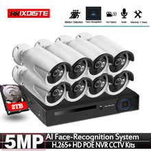Face Recognition 8CH POE Network NVR CCTV System Kit HD 5MP IP Camera IR IP66 Outdoor Waterproof Video Security Surveillance Set
