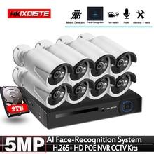 Gezichtsherkenning 8CH Poe Netwerk Nvr Cctv Systeem Kit Hd 5MP Ip Camera Ir IP66 Outdoor Waterdichte Video Security Surveillance set