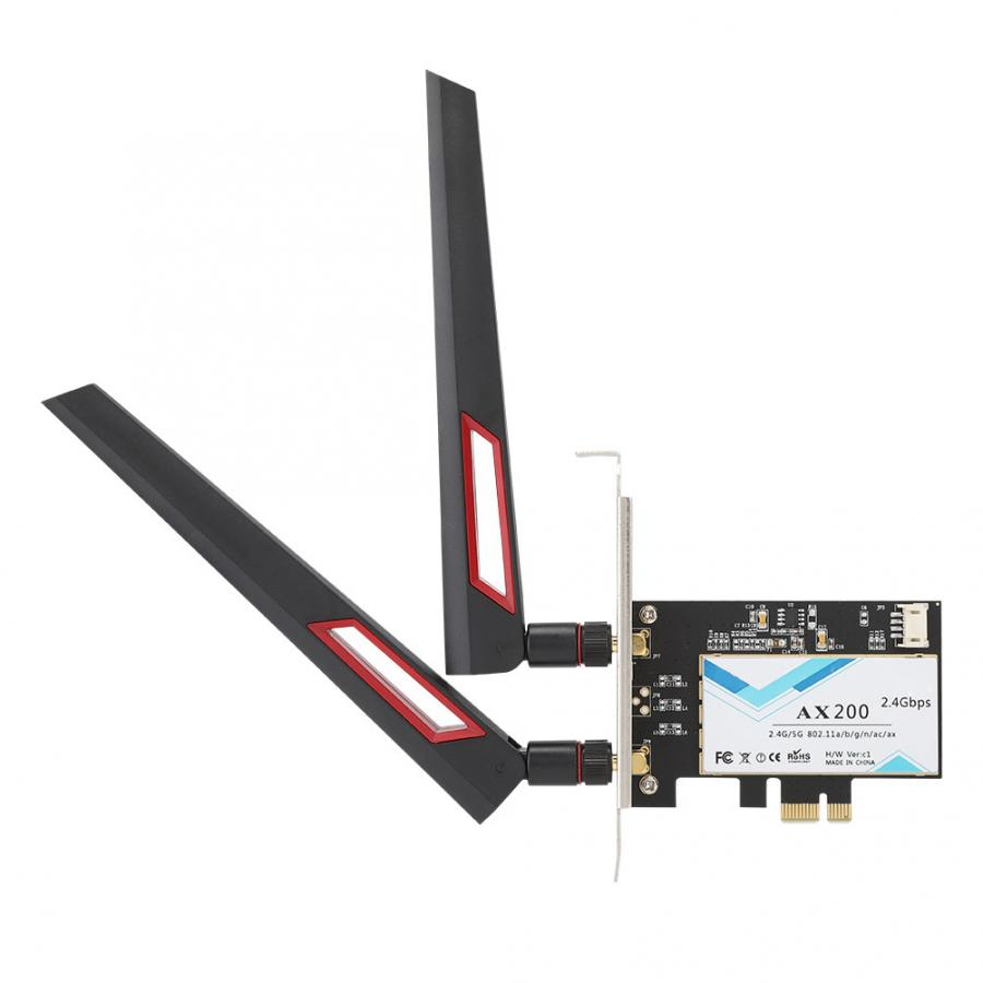 usb network card 2400Mbps PCI-E Network Card for <font><b>Intel</b></font> <font><b>AX200</b></font> 802.11ax WiFi6 Bluetooth5.0 with AC88U Antenna[S] network card pci image