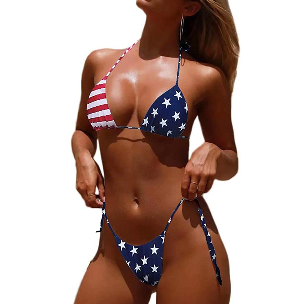 US USA American Flag Womens 2 Piece Bikini Swimsuit Beachwear Bathing Suit