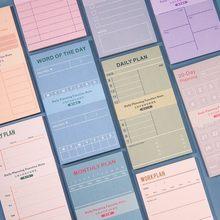 50 folhas diário semanal planejador mensal bloco de notas tempo agendador coisas a fazer lista lista de verificação auto-vara notas pegajosas