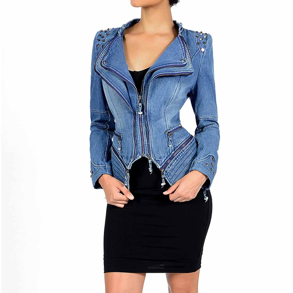 Young17 для женщин Готический серый синий заклепки Асимметричная панк Рок джинсовая куртка пальто размера плюс 6XL Весна Зима мотоциклетная верхняя одежда