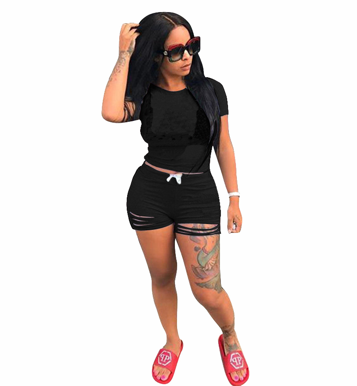 Short Sets For Women Summer 2020 Short Sleeve Shirt And Short Set 2 Piece Casual Black Yellow Blue Pink Outfits Two Piece Set