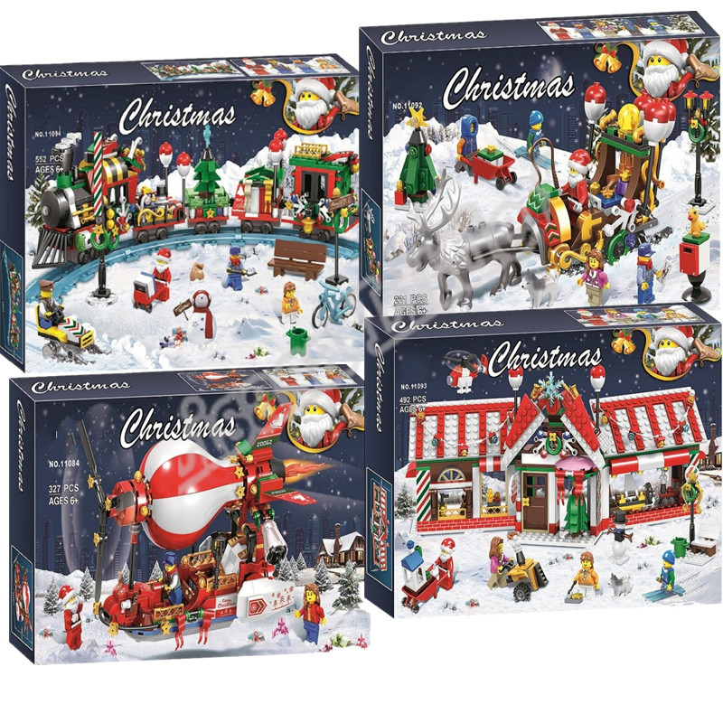 New Christmas Sets Santa Village Train Hot Air Balloon Model Building Kits Blocks Bricks Toys Legoinglys Christmas Gift
