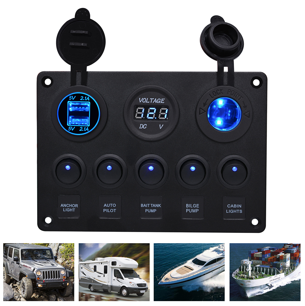 <font><b>5</b></font> Gang Car Marine Boat LED Rocker Switch Panel Waterproof Circuit Digital Voltmeter Dual <font><b>USB</b></font> Port With 4.2A Dual Slot Socket image