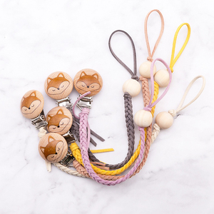 Image 5 - Baby Pacifier Clip Chain Cotton & Wood Pacifier Clip 1pc Handmade Nipple Holder Baby Shower Gift Safe Eco friendly Dummy Clips