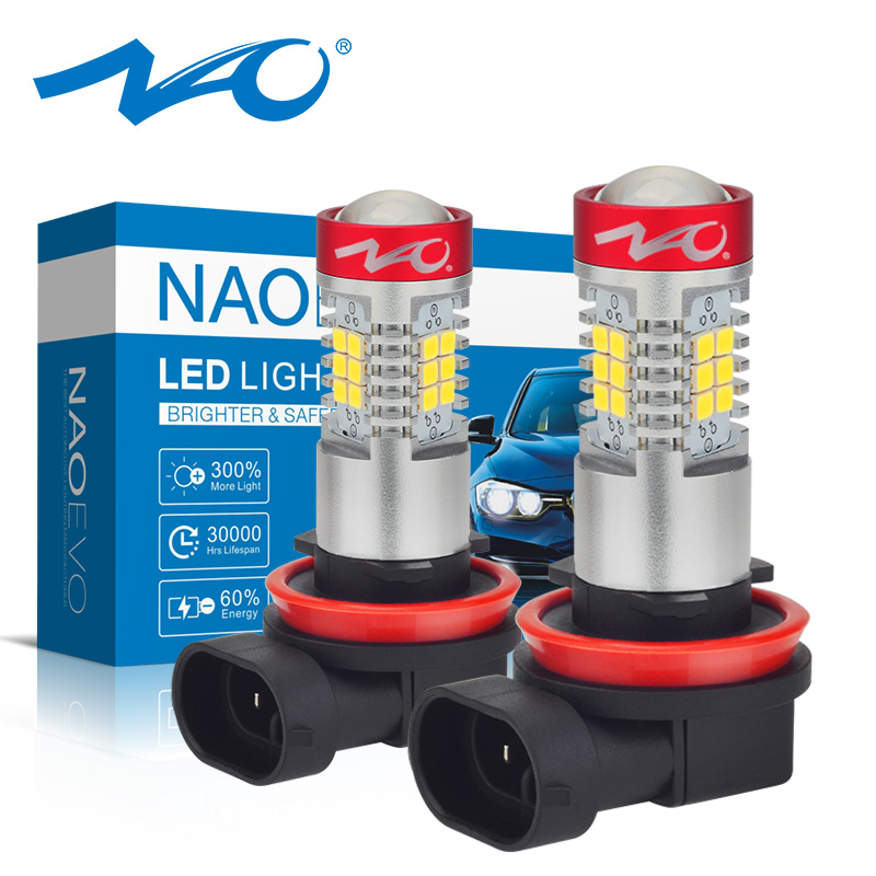 NAO H11 LED HB4 9006 HB3 9005 Car LED H10 H8 H16 5202 Fog Light Bulb H9 2835SMD 1300LM 12V Auto Driving Running Lamp White 6000K