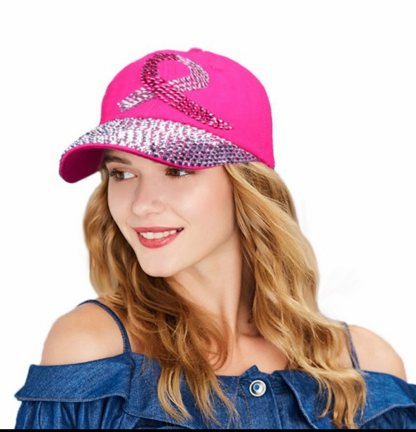 High Quality Tennis Snapback Hats Bling Women's Rhinestone Pink Ribbon   Cap   Breast Cancer Awareness   Baseball     Cap   More Colors