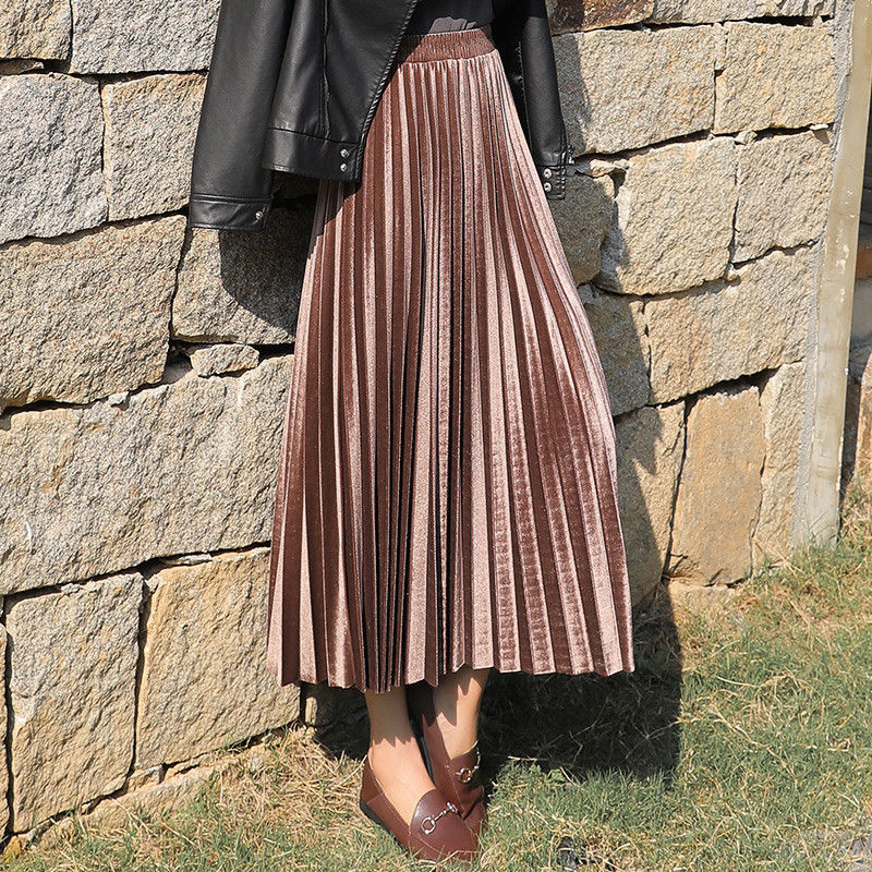 Women Golden Velvet Skirts Pleated Long Skirts High Waist Maxi Skirts Champagne Black Skirts Korean Style Plus Size S-3XL GMS08