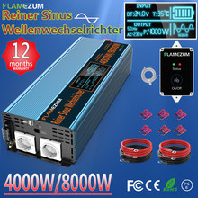 Inversor de onda senoidal pura 1000w 2000 3000 4000 5000 6000 7000 8000 dc12v/24v/48v a 120v 220v 230v 240v & controlador remoto