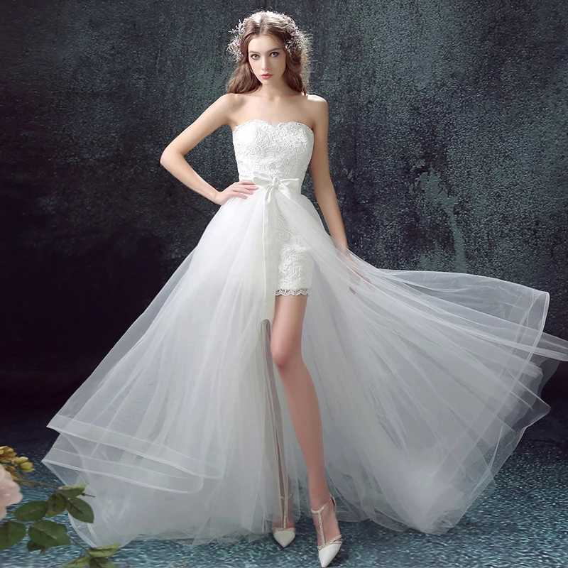 Alilove Detachable/Beach/Bride/Simple/New/Style/Big Size Wedding Dress 2 in 1/Sweet Heart/Lace/White/Direct/Women/Luxury 2019
