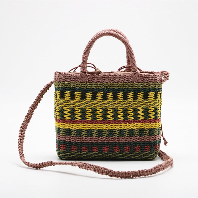 2020 New Children's Straw Bag Multicolor Woven Mini Shopping Bag Straw Beach Tote Messenger Crossbody Shoulder Bag Handbag