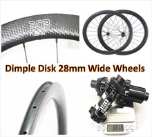 все цены на NEW Disk 45mm Rims Wheelset Disc Brake Road Bike Clincher Dimple 28mm Wideth 700c Carbon Axle DT 350 Hubs 100*12 142*12 Wheel онлайн