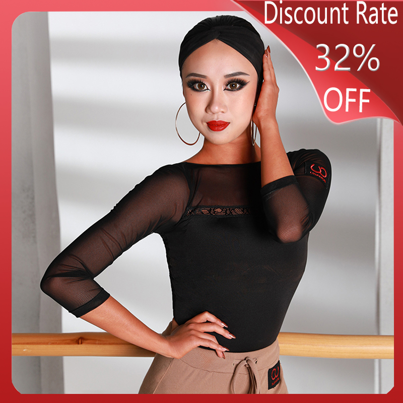 New Latin Dance Tops For Women Black Long Sleeve Salsa Dress Ballroom Latin Dance Competition Dresses Performance Clothes DQS351