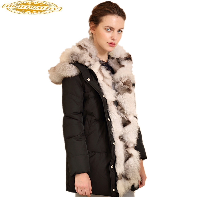 2020 New White Duck Down Jacket For Women Winter Thick Warm Coat Female Large Fox Fur Collar Womens Down Jackets WYQ863