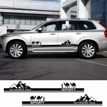 2PCS Networks Asia Car Door Side Graphics Camel Vinyl Stickers For Volvo S60 XC90 V40 V50 V60 S60 S90 V90 XC60 XC40 Accessories(China)