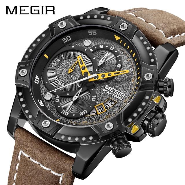 MEGIR Creative Wristwatch Man Watch Waterproof Leather Mens Watches Top Brand Luxury Chronograph Sport Watch Relogio Masculino