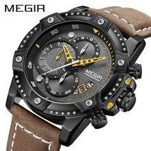 MEGIR 크리 에이 티브 손목 시계 남자 시계 방수 가죽 남성 시계 브랜드 럭셔리 크로노 그래프 스포츠 시계 Relogio Masculino