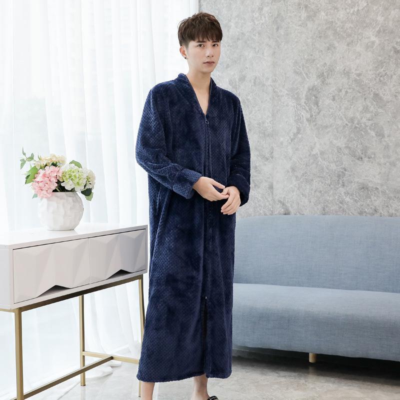 Men Casual Full Sleepwear Homewear Keep Warm Soft Long Unisex Pajamas Solid Flannel Robe Gown Exquisite Zipper Bathrobe Gown