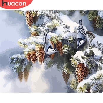 HUACAN DIY Pictures By Number Winter Kits Drawing On Canvas Painting By Numbers Landscape Hand Painted Picture Gift Home Decor