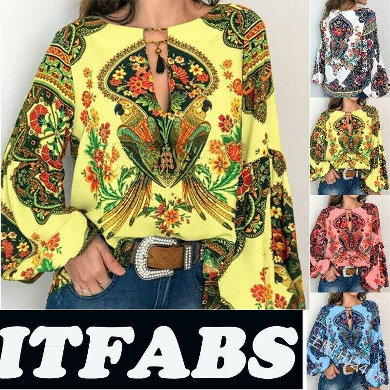 2019 New Hot Women Autumn Summer Boho Floral V-Neck Long Lantern Sleeve Oversize Blouse Tops Plus Size S-3XL Loose Ladies Shirts