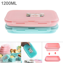 1200ML 8 Inch 2 Colors Portable Rectangle Silicone Scalable Folding Lunchbox Bento Box for - 40 ~ 230 Centigrade