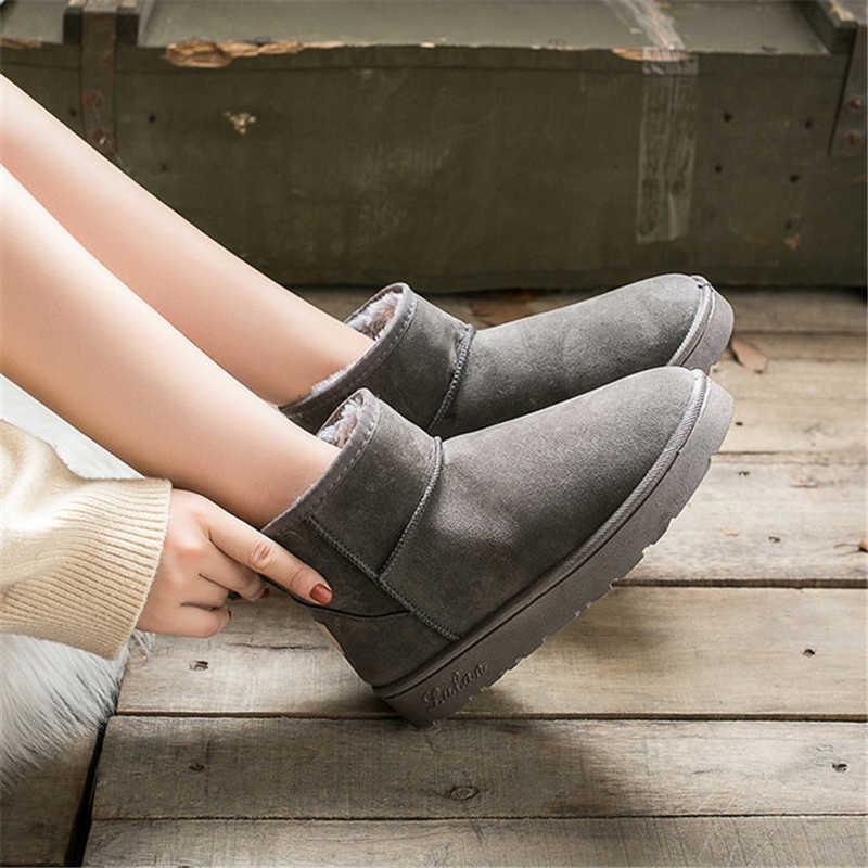 รองเท้าบูทรองเท้าผู้หญิงสำหรับสตรีแพลตฟอร์มหญิงสาวบู๊ทส์ขนสัตว์ Furry รองเท้าบู๊ตหิมะฤดูหนาวรองเท้า