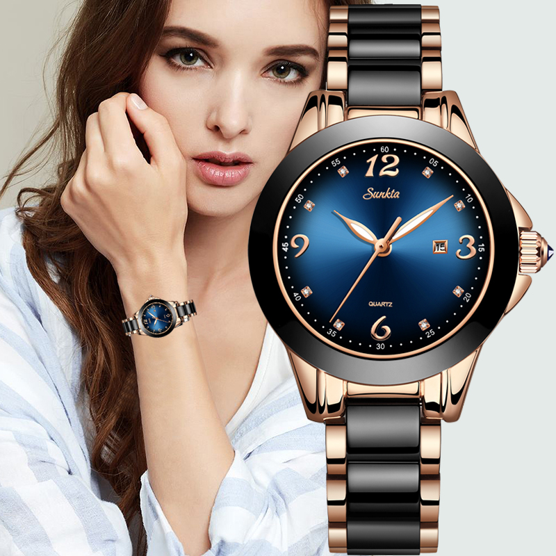 SUNKTA Fashion Women Watches Ladies Top Brand Luxury Ceramic Rhinestone Sport Quartz Watch Women Blue Waterproof Bracelet Watch|Women's Watches| - AliExpress