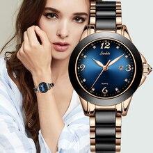 SUNKTA 패션 여성 시계 숙녀 톱 브랜드 럭셔리 세라믹 라인 석 스포츠 쿼츠 시계 여성 블루 방수 팔찌 시계