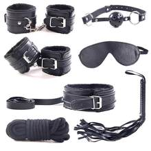 Movconly 7Pcs/set SM Game Bed Restraint Kit Leather Bondage Handcuffs Fetter Eye Mask Rope Sex Toy for Couple Adult(China)
