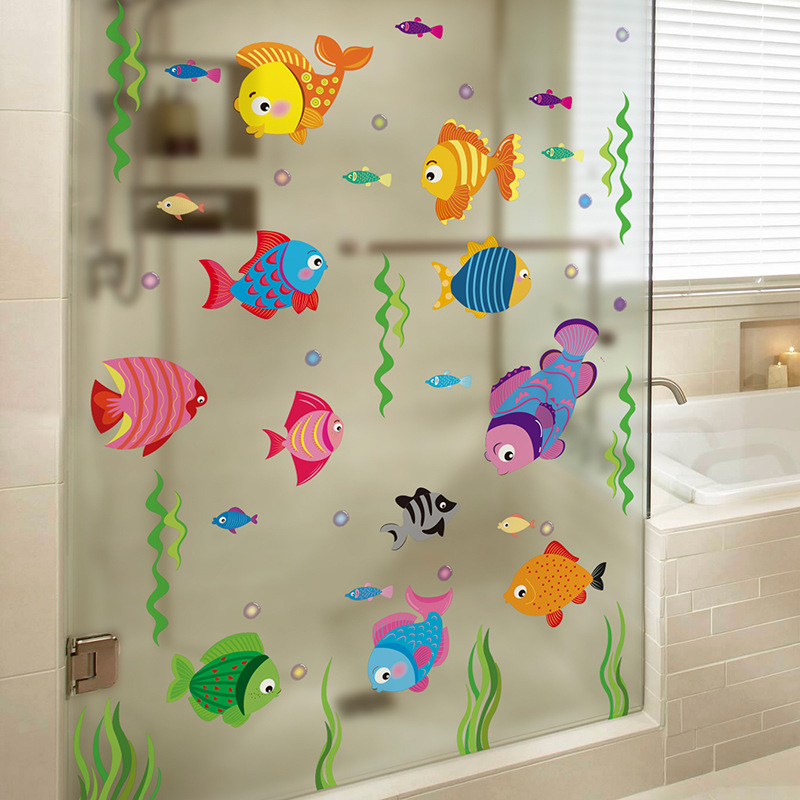 Bathroom Bathroom Glass Door Adhesive Paper Waterproof Wall Stickers Tile Wall Decoration Kindergarten Small Fish CHILDREN'S Roo