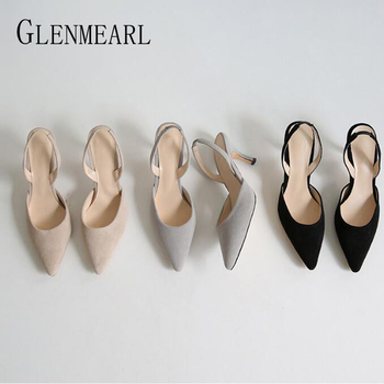 Women Sandals Summer Shoes Casual Female Sandals For Girl Point Toe Back Tick Pumps Brand Low-heeled High Heels Plush Size Shoes bwb women pumps shoes woman loafers summer shoes for women fashion sweet casual women s shoes low heeled sole