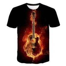Retro notas, design de instrumento musical, novidade camiseta 3d, da vinci guitarra rock band engraçado roupas de rua camiseta, meninos e gir