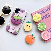 Stand Peach-Bracket Phone-Case Lemon-Holder Xiaomi Samsung Soft for Cute Huawei 3D Silicone