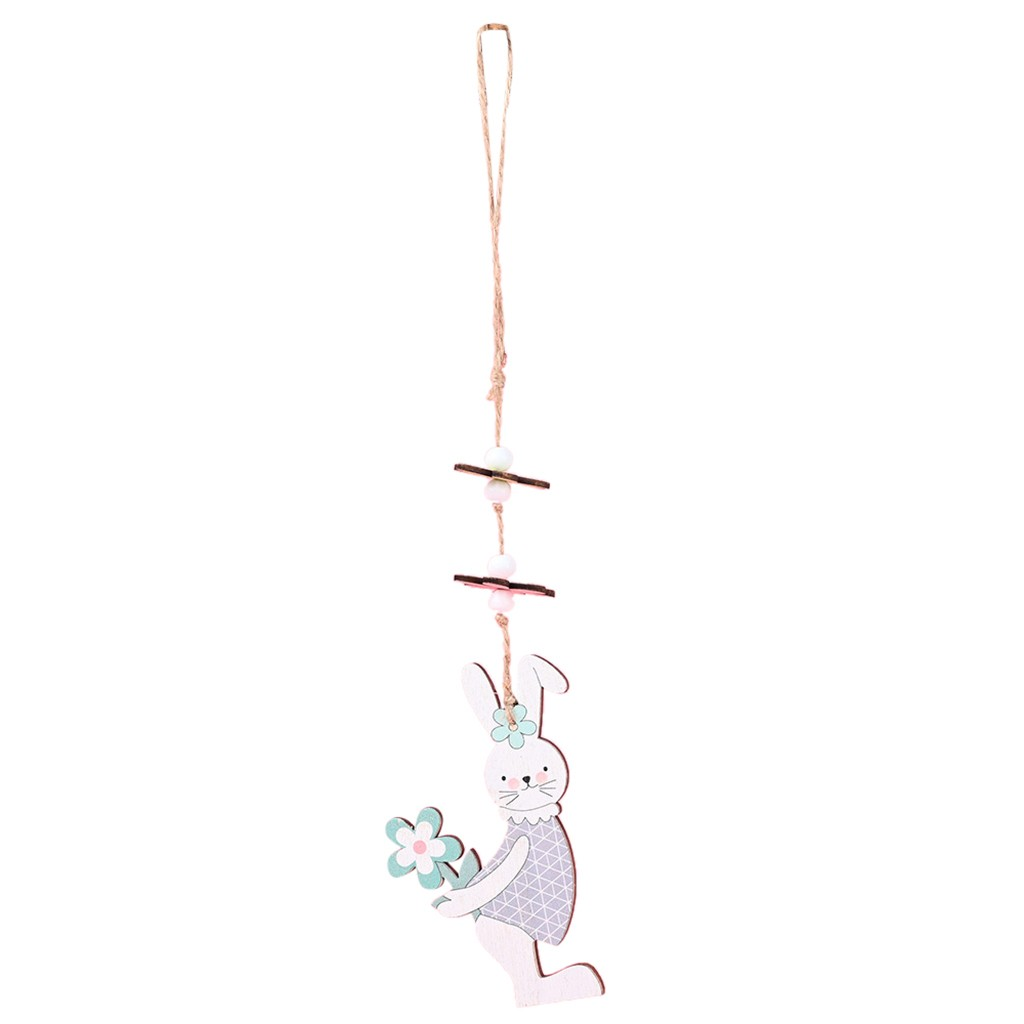 Easter wooden hanging bunny Rabbit string Decoration Rustic Nordic White