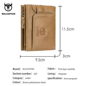 Image 2 - BULLCAPTAIN Men Wallet Genuine Leather Mens Purse Design male Wallets With Zipper Coin Pocket Card Holder Luxury Wallet