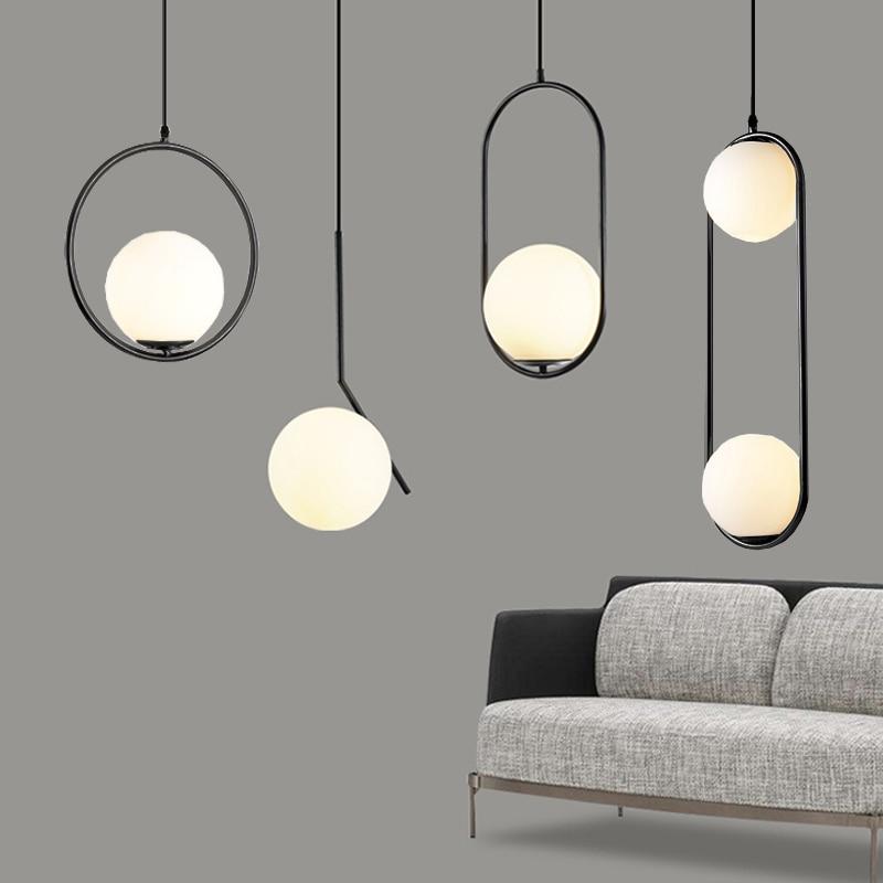 Nordic Glass Ball Pendant Lights Industriel Hanging Lamp luxury Gold Silver Brass art Kitchen hotel hoop