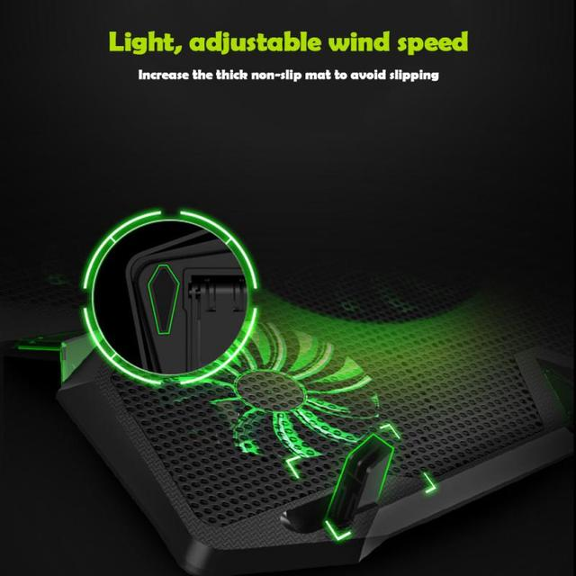 Laptop Cooler Notebook Cooling Pad With 5 LED Fan USB Cooler Pad Computer Stand Mat For 12-17 Inch PC Laptop Speed Adjustable 4